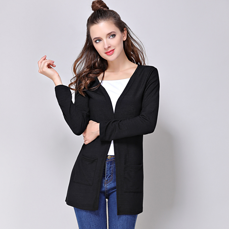 Drop shipping classic cardigans v neck fashion basic women wool knitted pocket cardigan long - Cardigan long femme ...