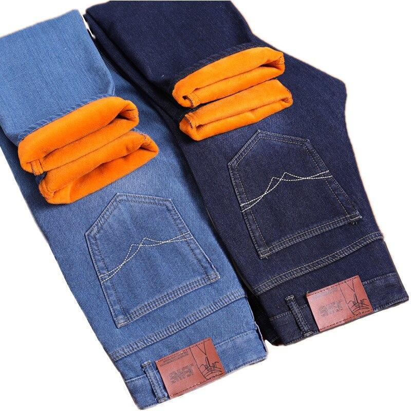 2018 Autumn and Winter Fashion New Men's Casual Plus Velvet Thick Warm   Jeans   / Men's Gold Velvet Warm Denim Trousers