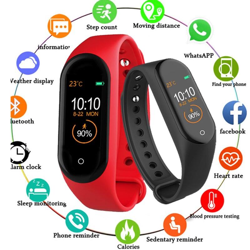 7f84c5895bfa Pulsera inteligente M4 rastreador de actividad Frecuencia Cardíaca mensajes  de presión arterial ...