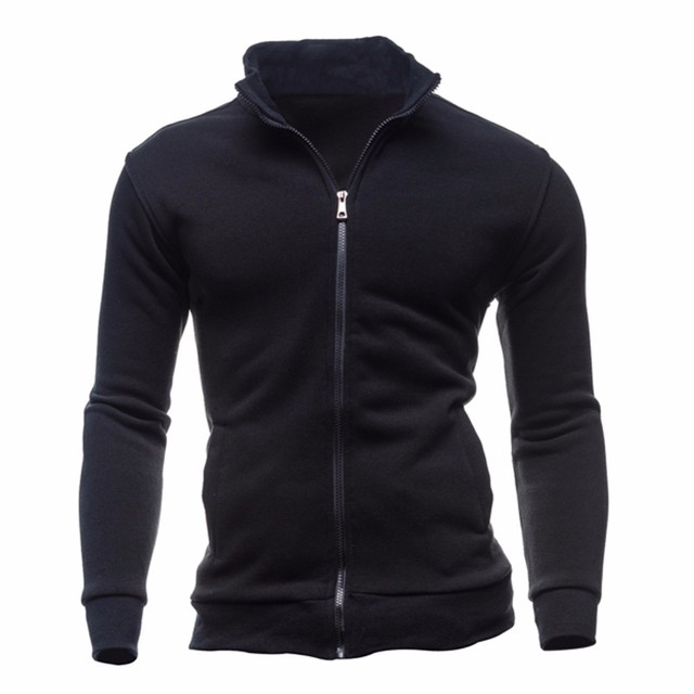 51396be8b 2018 New Men's Autumn winter Slim T Shirt men solid Tee Top Long Sleeves  zipper stand collar sweatshirts Men casual warm sweater