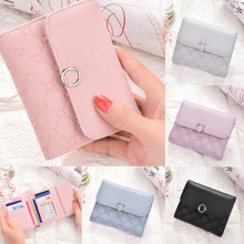 NOENNAME_NULL Women Leather Korean Cute Little Credit Card Wallet Trifold Lock Short ID Purse