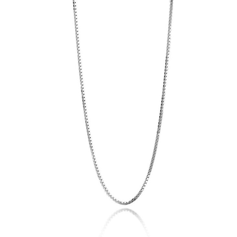 No Fade Metal Copper Box Chain Fashion Jewelry Accessories Contracted Necklaces Silver Plated Anti Allergy 1MM