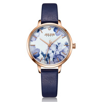 Printing Flower Lady Women's Watch MIYOTA Quartz Hours Fashion Woman Clock Real Leather Bracelet Girl's Birthday Julius Gift Box