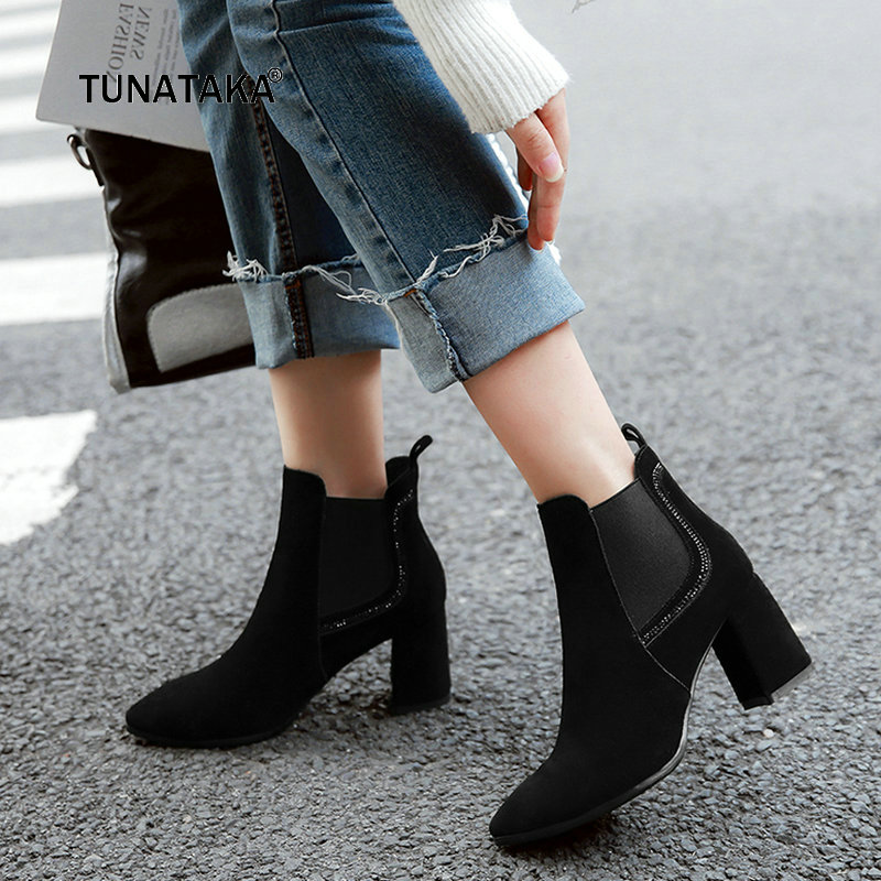 Ladies Suede Thick Heel Slip On Chelsea Boots Women Pointed Toe New Fall Winter Ankle Boots Black Nude new arrival genuine leather pointed toe fashion winter boots rivets thick heel slip on chelsea boots handmade ankle boots l93