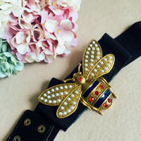 Cute Bee Belt Black Knitted Belts