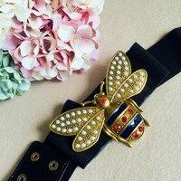 Cute Bee Belt Black Knitted Belts