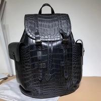 Из натуральной крокодиловой кожи живота кулиска мужской лоскут карманы рюкзак Аутентичные кожи аллигатора Для мужчин большая дорожная сум