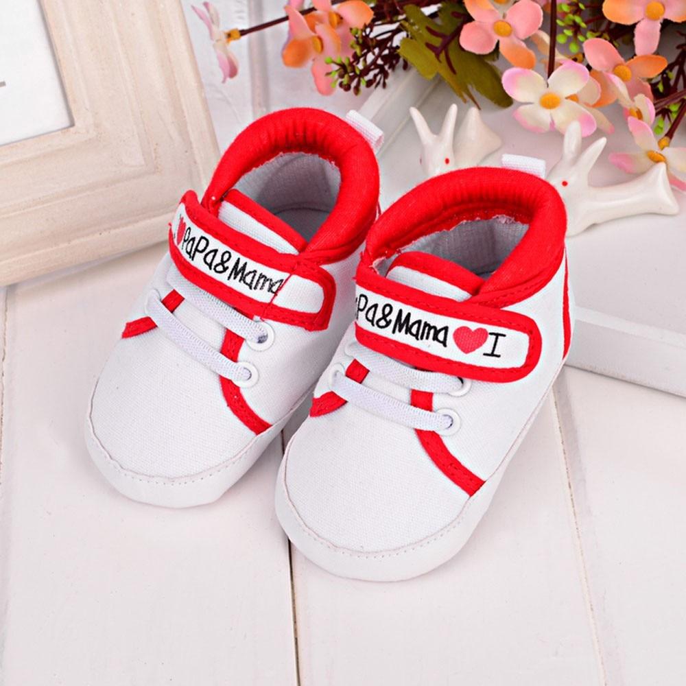 Baby Girl confortable Toile Chaussure Coeur Forme de Sport Anti-Dérapant Semelle Souple Chaussures