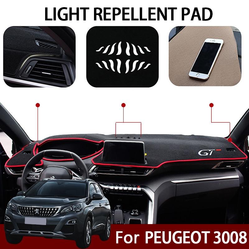 Car Dashboard Covers Mat Avoid Light Pad For Peugeot 3008 GT 2017 2018 Instrument Platform Carpet LHD Interior Accessories