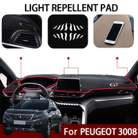 Car Dashboard Covers Mat Avoid Light Pad For Peugeot 3008 5008 GT 2017 2018 Instrument Platform Carpet LHD Interior Accessories