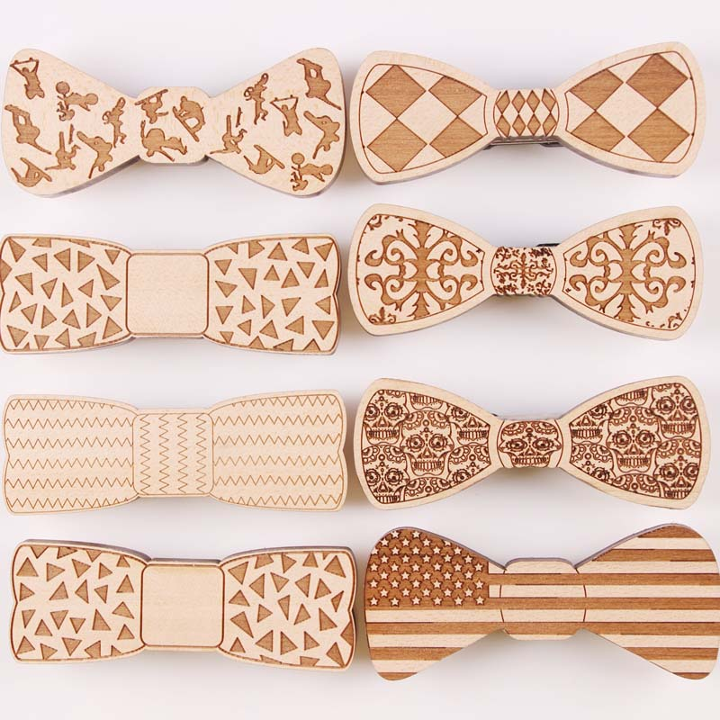 2016 new Fashion Personality Accessory Geometric Solid Hip Hop Good Wood Bow Tie For Men Butterfly Neck Skull Tie bowtie