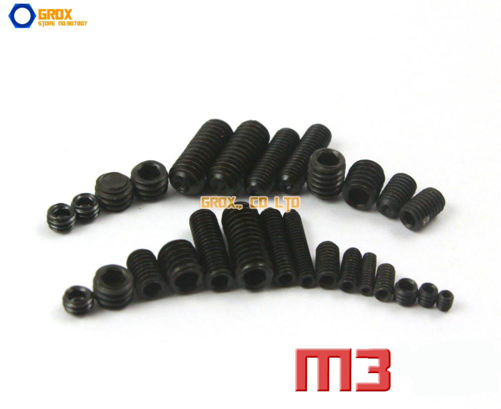 M3  Grub Screws Cup Point Hex Socket Set Screw 12.9 Grade Alloy Steel m2 5 grub screws hex socket set screws with cup point alloy steel grade 12 9 black pack 1000