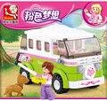 Sluban 0523 pink series dream travel car building block sets 158 unids educativo diy juguete ladrillo lepin