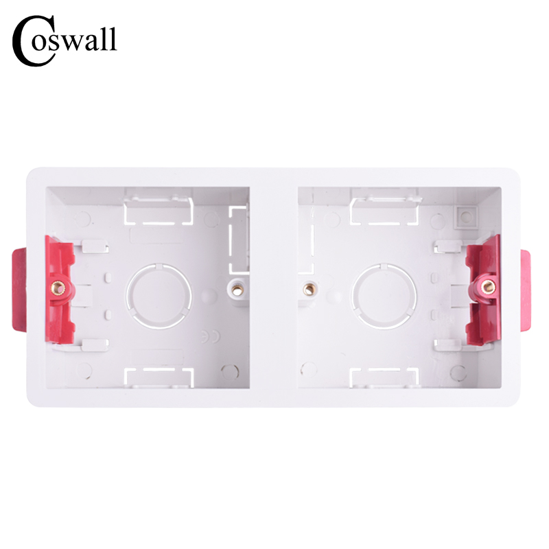 Coswall 86 Type 2 Gang Dry Lining Box For Gypsum Board Plasterboad Drywall 35mm Depth Wall Switch BOX Wall Socket Cassette