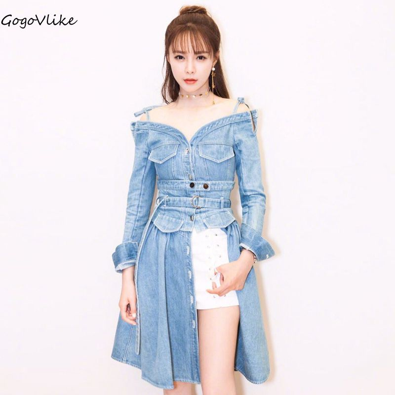 Denim Dress Lace Up 2018 Dual Use Women Spring Jean Dresses Off Shoulder Dress Long Sleeve