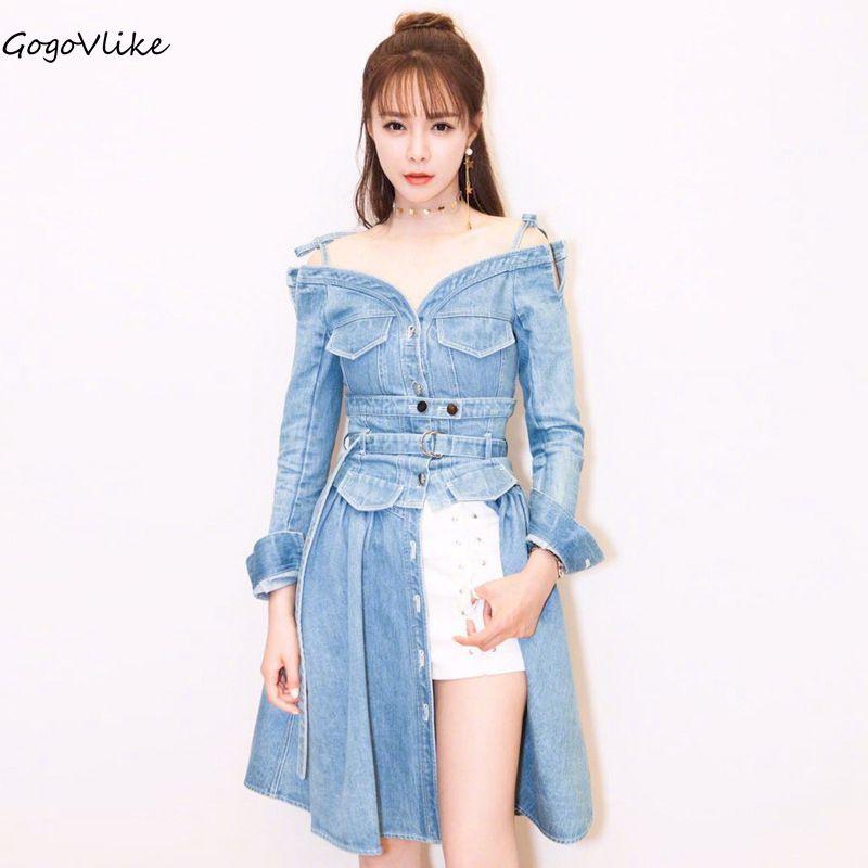 Denim robe à lacets 2018 double usage femmes printemps Jean robes épaule dénudée robe à manches longues midi robes avec ceinture LT018S10