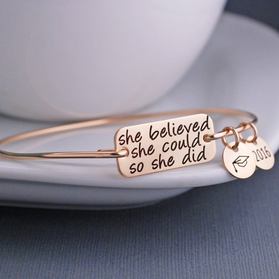 She Believed she could so she did Bangle 2018 New Arrival Simple Charms Bachelor Cap Bangles Bracelet Jewelry YP2641