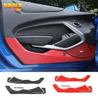 HANGUP Carbon Fiber Look Sticker Car Interior Door Anti Kick Sticker Protect Decoration For Chevrolet Camaro 2017 Up Car Styling