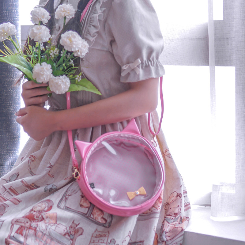 Original Teenage Girls Cute Cat Ear Ita Bag Kawaii Bow-knot Itabags Transparent PVC Ita Bag Party Round Small Crossbody Bags