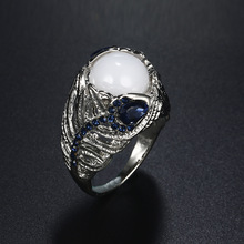 HOMOD Creative Feather Silver Ring For Women Vintage Blue Opal Flower Moonstone Engagement/Wedding Rings Dropshipping