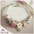 New Collection Pink Style  925 Sterling Silver Flower Charm Bracelet Chain