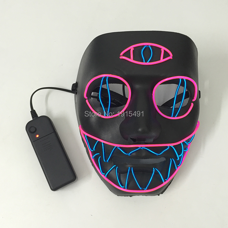 Music Activated 3-Eyes Evil Luminous Mask Halloween Diy Model Decor Light Up Led Trendy Witch Mask Festival Party Lights Favors