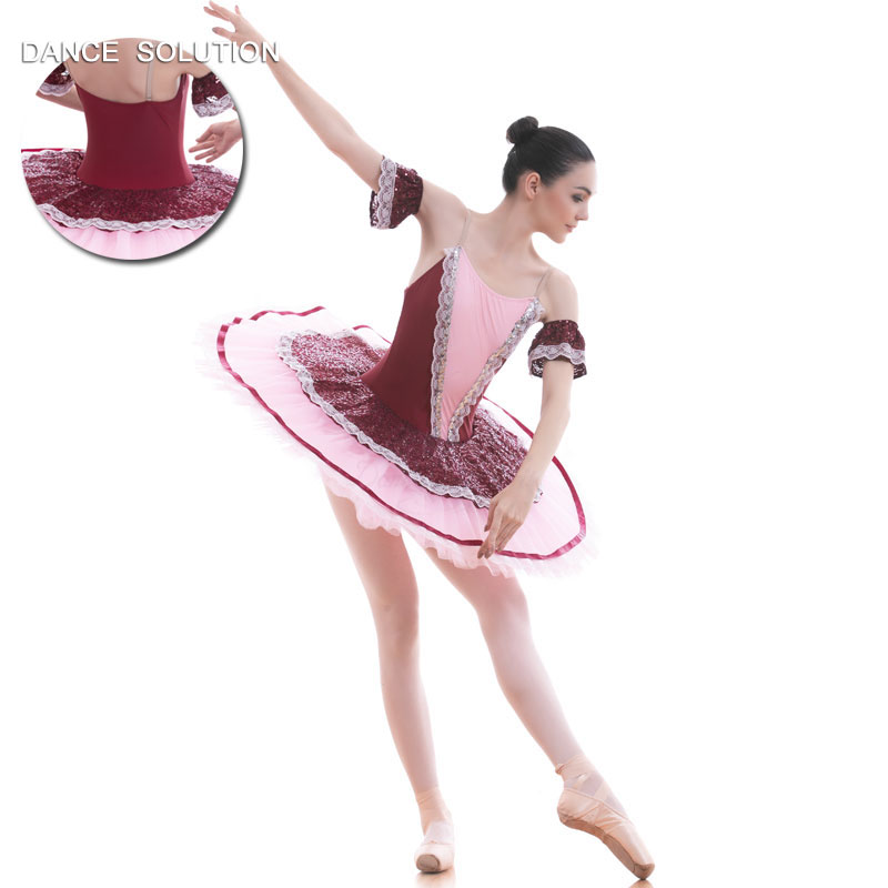 Pink Wine Red Classic Ballet Dance Costume Rehearsal Tutu Dress for Child and Adult Ballerina Pancake