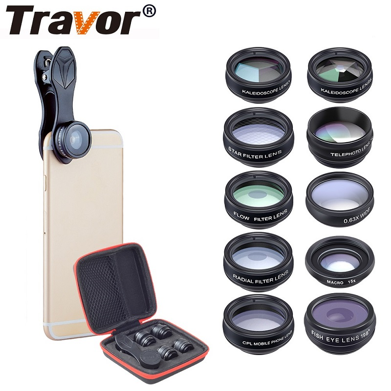 TRAVOR Phone Lens Kit Kaleidoscope+2X telescope Lens Fisheye Lens Wide Angle macro Lens CPL Filter For iphone Xiaomi Samsung