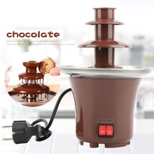 DIY 3-tier Chocolate Fountain Fondue Mini Choco waterfall machine Three Layers Children Wedding Birthday heat melts EU plug недорого