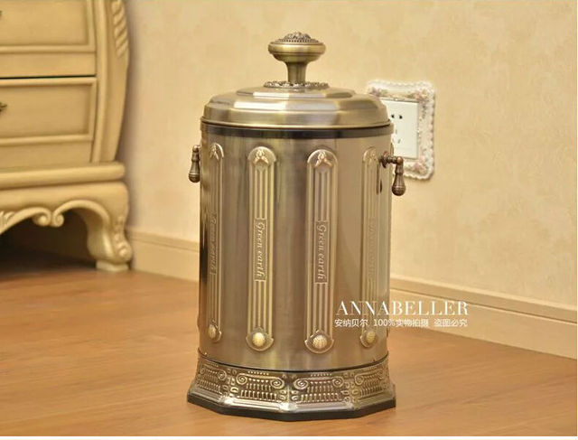 Luxury 10/6L Bronze Stainless Steel Metal Rubbish Bin Waste Bin With Foot  Pedal Trash