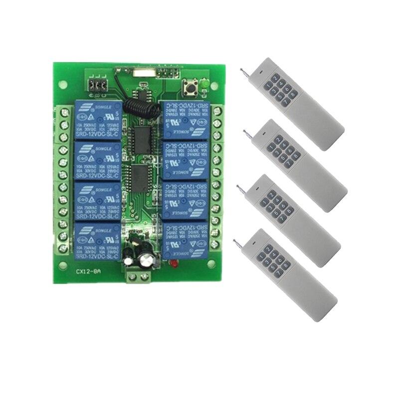 3000m Wide Range 10A Relay DC 12V 24V 8 CH 8CH Wireless RF Remote Control Switch Transmitter & Receiver