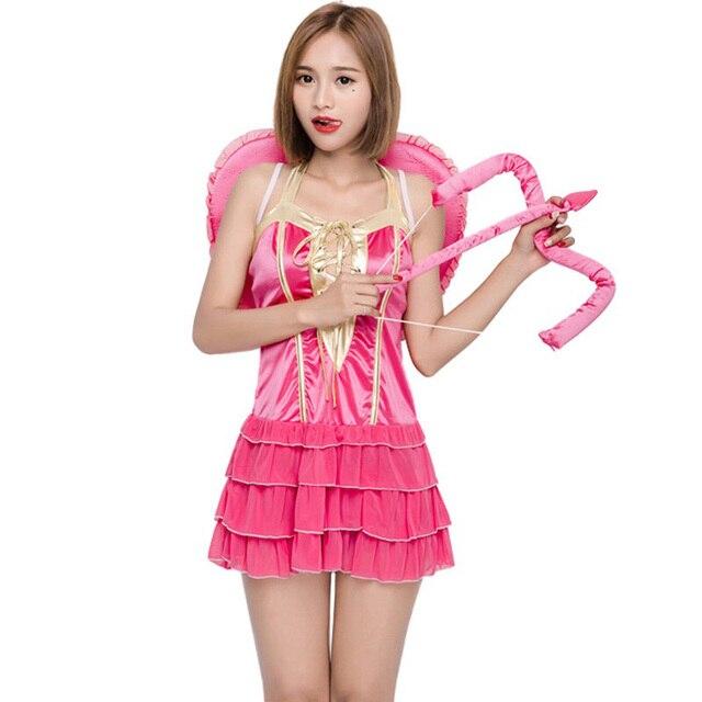78e77dddb93 Halloween femme femmes cupidon Costume vilain rose en couches tenue courte  douce robe à volants fantaisie