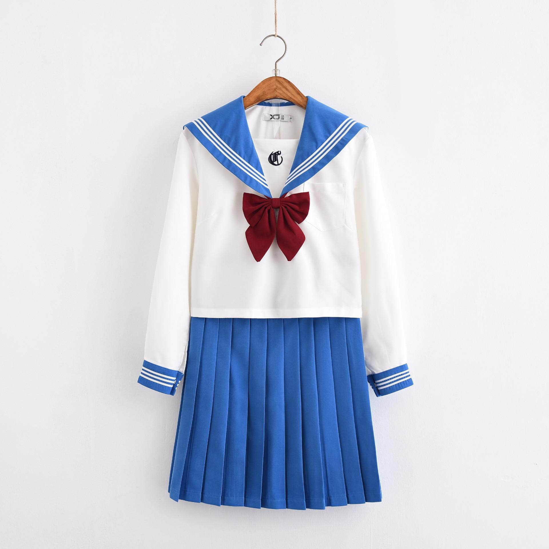 Nouveaux uniformes scolaires pour filles Jk uniforme à manches longues marinière chemise jupes costume classe étudiant collège lycée japonais-vêtements