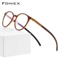 B Pure Titanium Glasses Frame Men Women Acetate 2018 New Vintage Round Myopia Optical Prescription Eyeglasses Screwless Eyewear