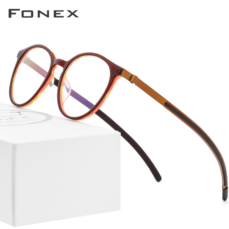 B Pure Titanium Glasses Frame Men Women Acetate New Vintage Round Myopia Optical Prescription Eyeglasses Screwless Eyewear 9105