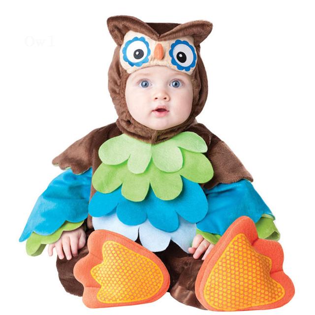 2017 Karneval Halloween Xmas Natal Meninos Traje Infantil Coruja Animal Do Bebê Rompers Roupas Definidos