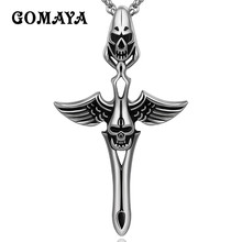 GOMAYA Women Mens Pendant Necklace Vintage Rock Silver Color Cross Wings Skull Jewelry Titanium Steel Unisex a suit of vintage cross wings pendant necklace and earrings for women