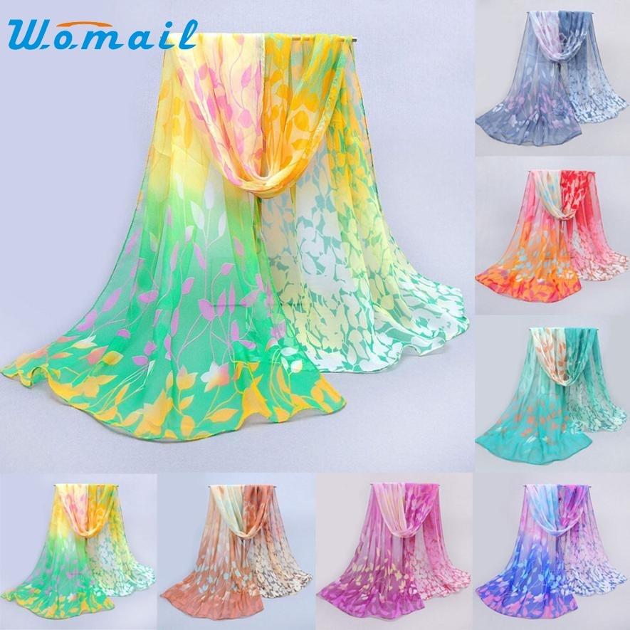CharmDemon 2016 Women Design Printed Silk Soft Silk Chiffon Shawl Wrap Wraps Scarf Scarves jy13