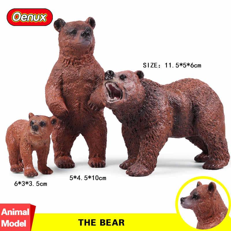 Oenux Original Simulação Animais Figuras de Ação Modelo Coleção Figuras de Leões e Tigres Urso Veado Animal Cão Brinquedos Para As Crianças Presentes