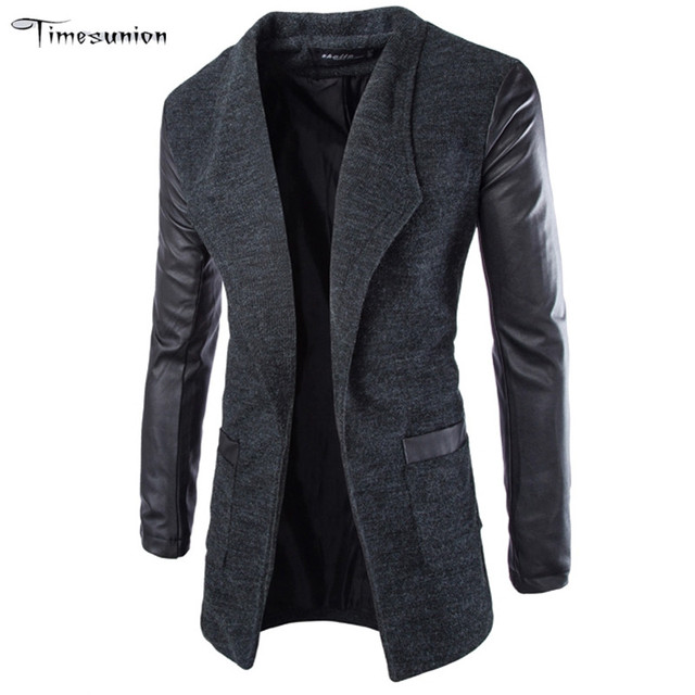Long Trench Coat Men Cotton Men's Winter Jacket Stand Collar Brand Asian Size M-XXL Cardigan Trenchcoat Slim Fit Homme Black