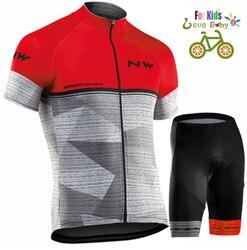 Hot sale2019 Northwave Kids Jersey Dragen Korte Mouwen Fietsen Set Jongens Fiets Kleding Ropa Ciclismo Fietsen Kleding Sport Pak