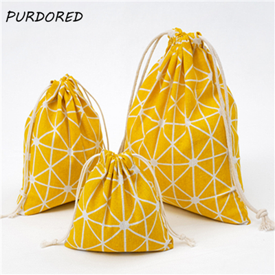 PURDORED 3 Pcs/set Plaid Drawstring Bag Women Travel Organizer Bag Makeup Cloth Shoes Package Bag Home Storage Toiletry Bag