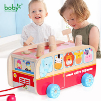 Baby Toys For Children Car Hot Wheels Kids Pull Along Bus With Hammer Game Gift For
