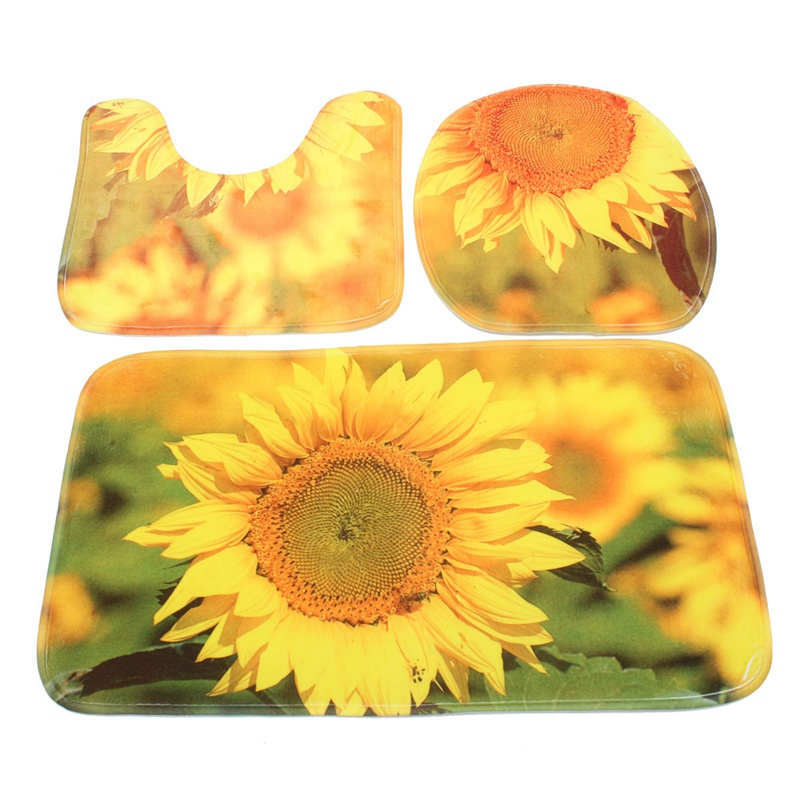NEW!!!3 PCs/ Set Bathroom Non Slip Yellow Sunflowers Style Pedestal Rug +  Lid Toilet Cover + Bath Mat Gifts Material