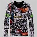 Marca de moda de Los Hombres de letras de Graffiti impreso de manga larga Camisetas Primavera Otoño Nuevo Hombre Tees Harajuku hombres T camisas Más El tamaño