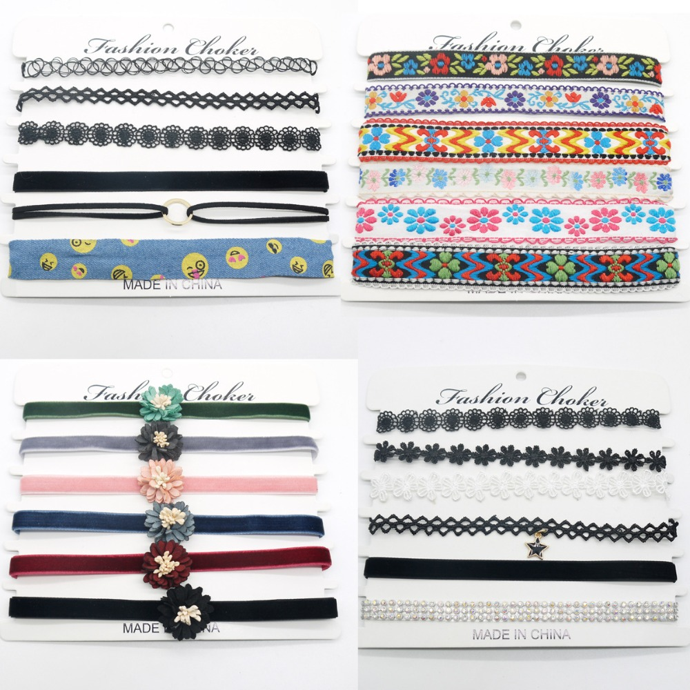 Mix 6 Pcs/Pack Black Tattoo Spring Rainbow Embroidery Printing Ribbon lace Velvet Combination Choker Necklace Gothic Jewelry