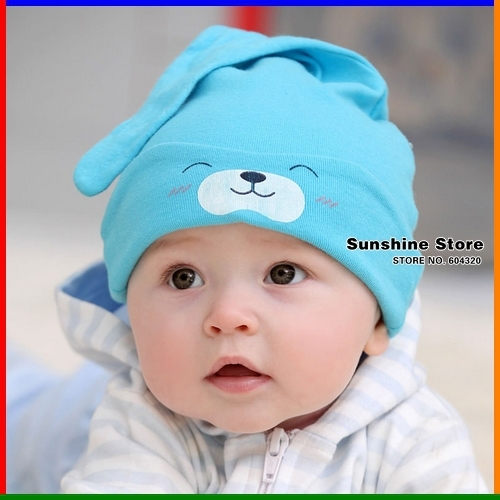 baby sleeping hat children cowl print smile bear eyes girls cap 100% cotton night beanies chapeu #2C2659 10 pcs/lot(3 colors)