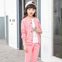 Children Sport Suits Teenage Girls Clothing Sets Spring Autumn Kids Jacket+T shirt+Pants 3PCS Girls Clothes 4 6 8 10 12 13 Years