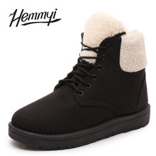 Hemmyi 2017 Winter Snow Boots Women Round Toe Lace-up Solid Black Woman Boot Keep Warm Add Wool Mujer Botas for Female