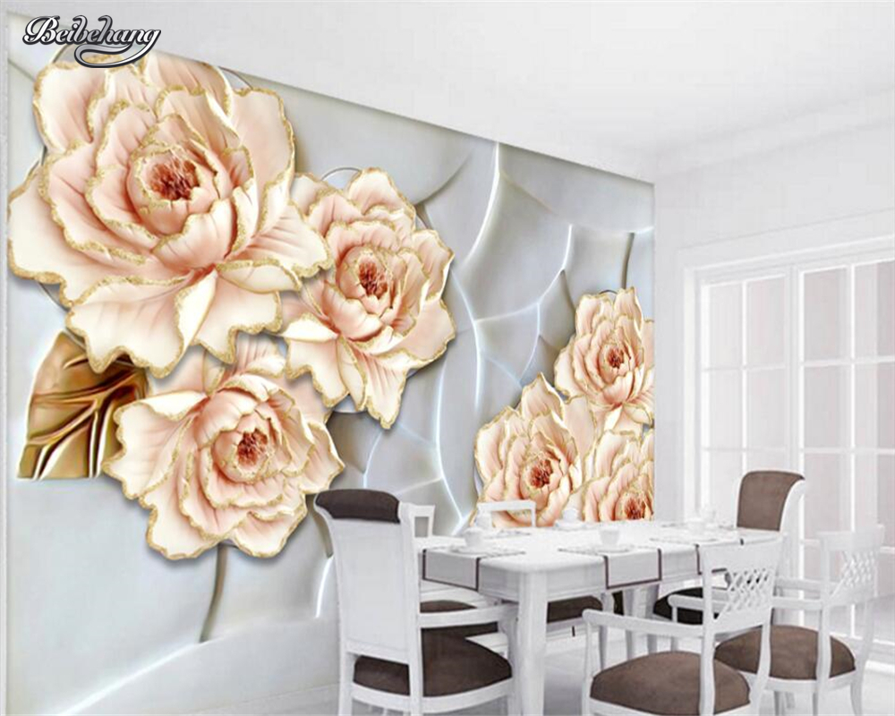 Beibehang Customize any size wallpaper wallpaper relief flower rich ...